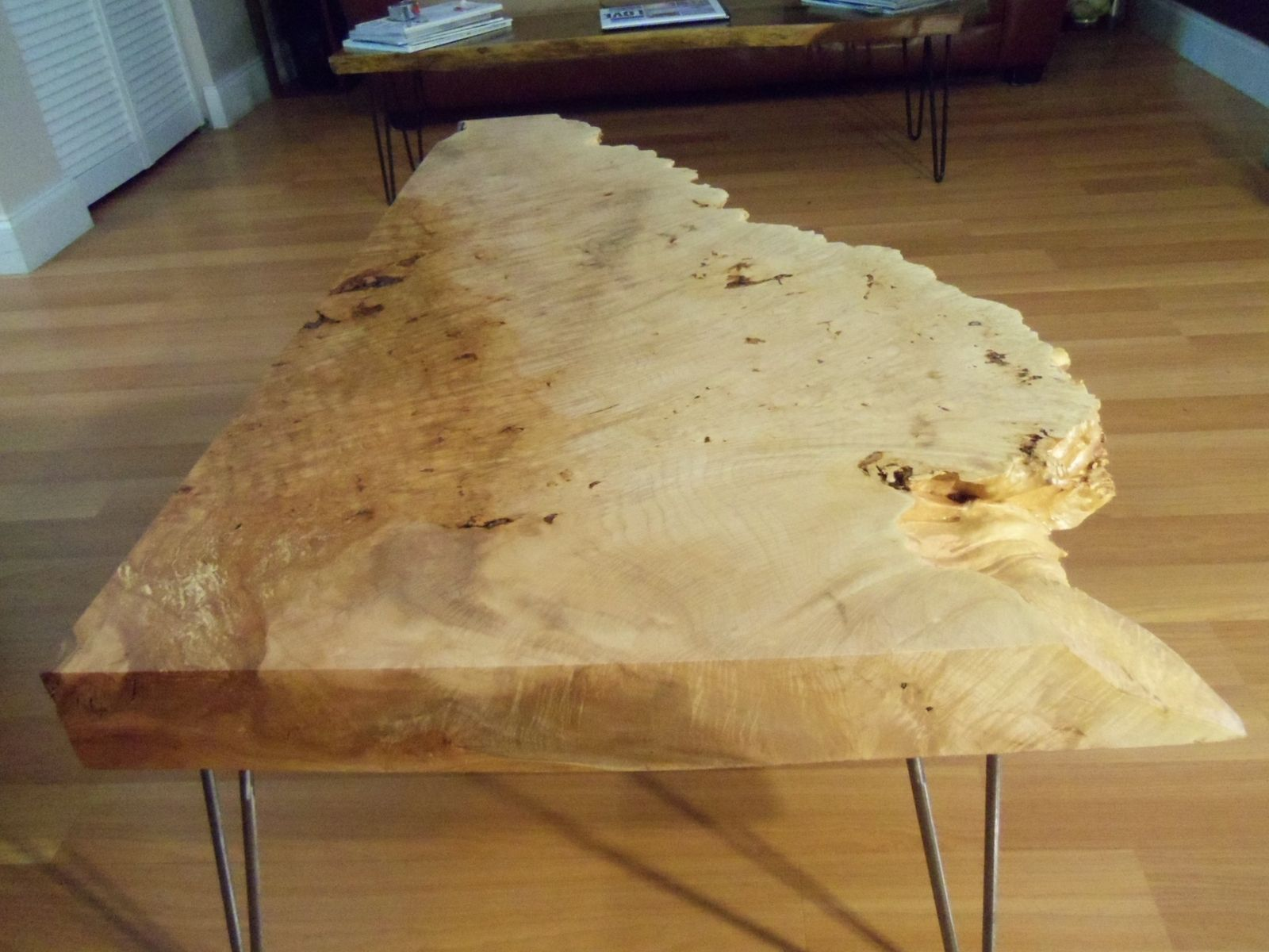 Hand Crafted Live Edge Maple Burl Coffee Table With