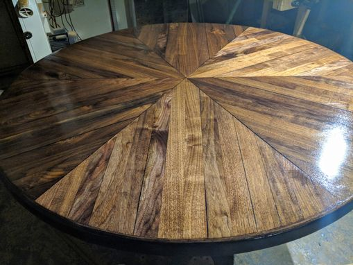 Custom Made Solid Black Walnut Round Dining Table