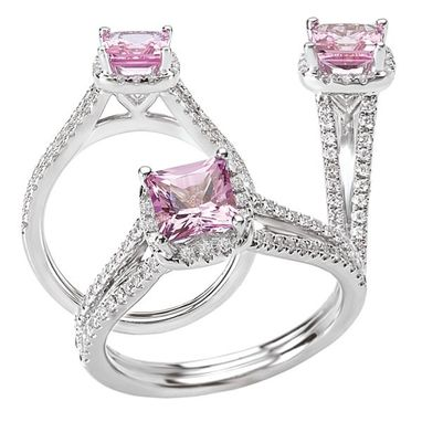 Custom Made Pink Sapphire And Diamond Halo Engagement Ring