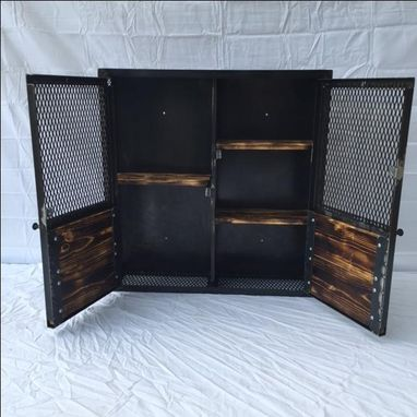 Buy a Hand Crafted Industrial Hand Made Liquor Cabinet, Rustic ...