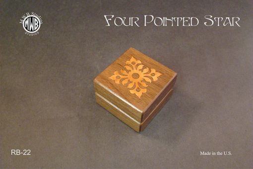 Custom Made Engagement Ring Box Inlaid With 4 Point Star. Rb-22. Free Shipping And Engraving