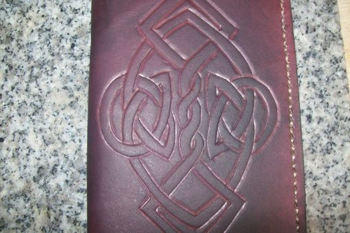 Custom Made Custom Leather Day Planner With Celtic Design In Dark Mahogany