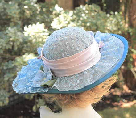 Custom Made Edwardian Style Wedding Hat Wide Brim In Lilac
