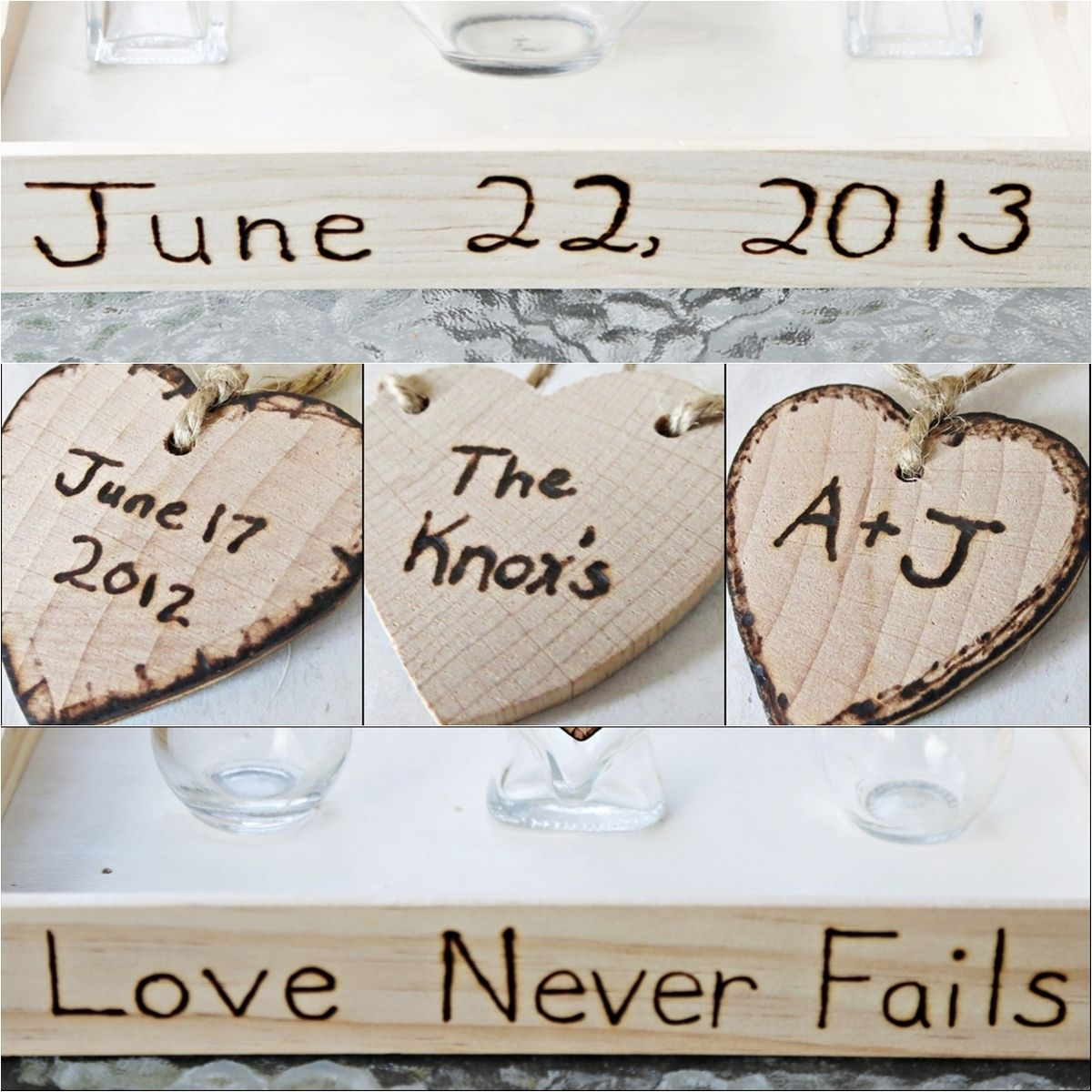Custom Rustic Heart Vase Wedding Unity Sand Ceremony Set With ...
