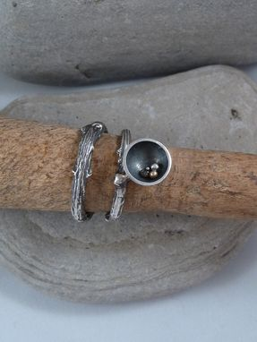 Custom Made Sterling Silver Twig Ring With Cup/Bowl.