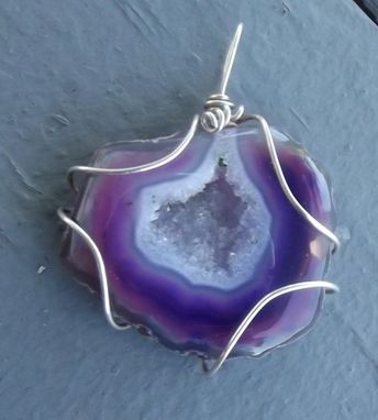 Custom Made Purple Dyed Agate Pendant, Sterling Wrapped.