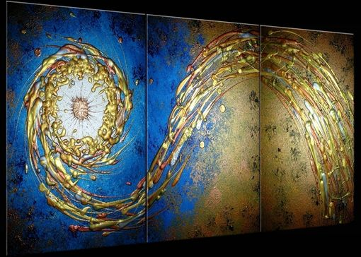 Custom Made Abstract Blue Gold Textured Original Modern Painting On Sale By Dan Lafferty - 24 X 54