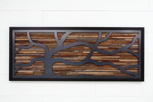Custom Made Wood Wall Sculpture Made Of Old Barnwood And Natural Steel 48
