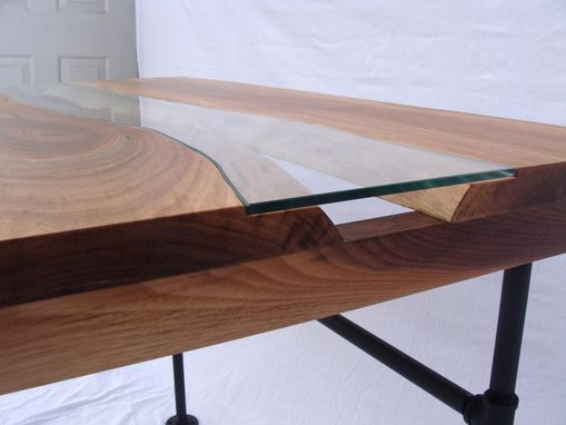 Custom Made Wood And Glass River Table