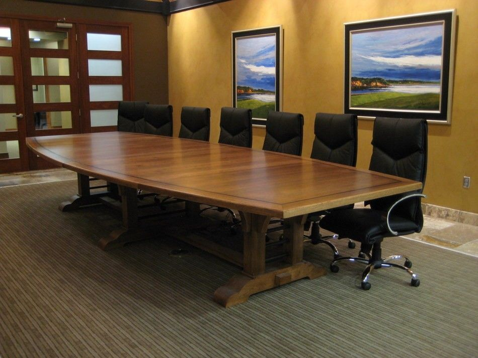 Hand Made 15 Foot Hickory And Steel Conference Table By