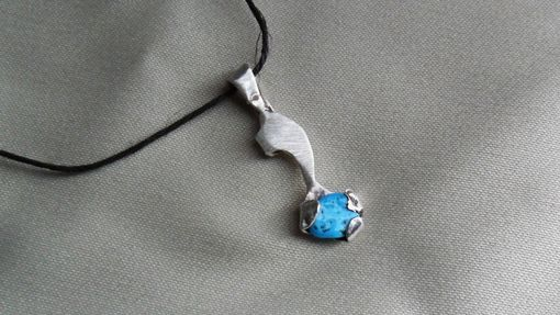Custom Made Silver Sculptural Necklace With Turquoise Pebble