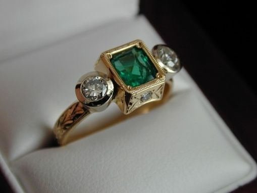 Custom Made Fine Emerald Engagement Ring