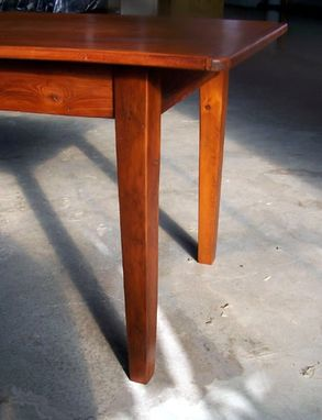 Custom Made Reclaimed Pine Table With Brown Cherry Finish & Straight Leg