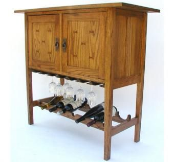 Custom Made Mission Wine & Spirits Cabinet