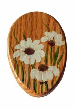 Custom Made Amish Wonderful Sunflowers Towel Holder Oak Stained Hand Painted Magic Marble