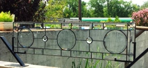 "Custom Made Stained Glass Transom Window - ""Beveled Circles"" (Tw-32)"
