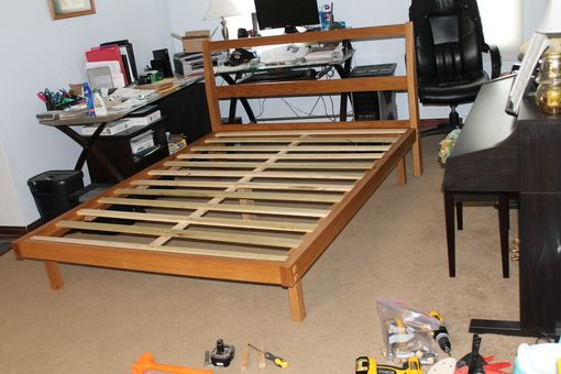 Custom Made White Oak Parsons Style Queen Bed