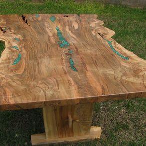 Live Edge Ambrosia Maple Dining Trestle Table