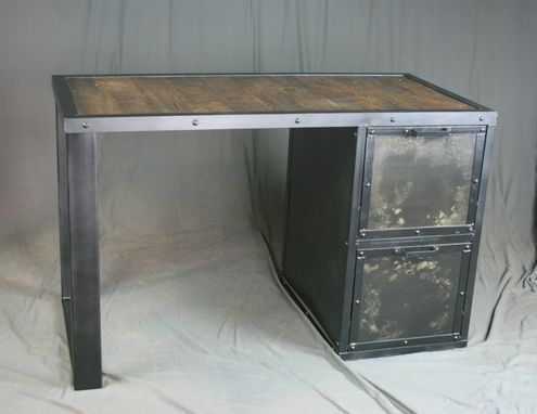 Custom Made Vintage Industrial Desk With File Cabinet. Reclaimed Wood & Steel Drawers. Filing.