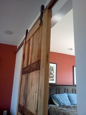 Custom Made Reclaimed Wood Sliding Barn Door With Vintage Hardware