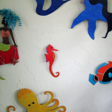 Custom Made Metal Seahorse Wall Art Sculpture In Red Orange