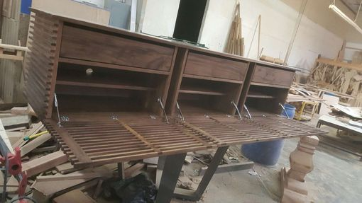 Custom Made Slatted Walnut Console