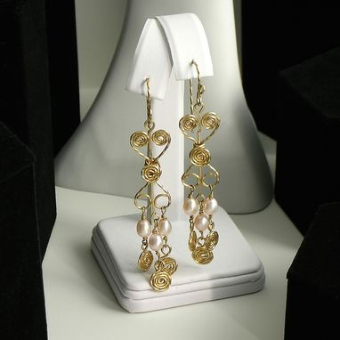 Custom Made Long Gold And Pearls Earrings. Chandelier Earrings