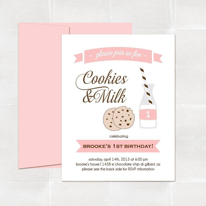 Custom Cookies N Milk Party Invitations by Elle & Bean ...