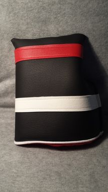 Custom Made Custom Mallet Putter Fore Leaf Golf Head Cover, Black With Red And White Stripes