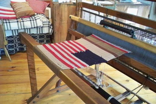 Custom Made Country Folk Art Flag Red White And Blue Woven Wool 10 X 15 Wall Hanging Recycled Wool