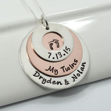 Custom Made Mom Of Twins Personalzied Hand Stamped Necklace