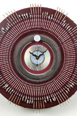 Custom Made Recycled Metal Art Clock - Round Wall Clock With Etched Cd Center - Ready To Ship