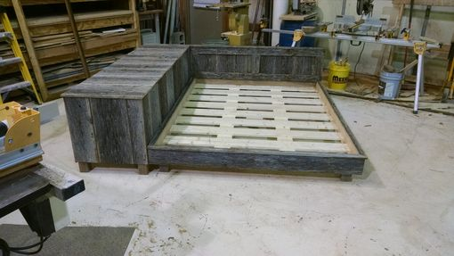 Custom Made Platform Bed With Side Hutch In Reclaimed Oak Barn Wood