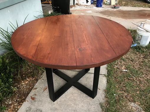 Custom Made Round Wood And Metal Dining Table