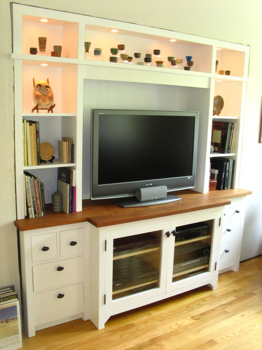 Custom made built in wall unit white by winter woodworks for Built in wall units