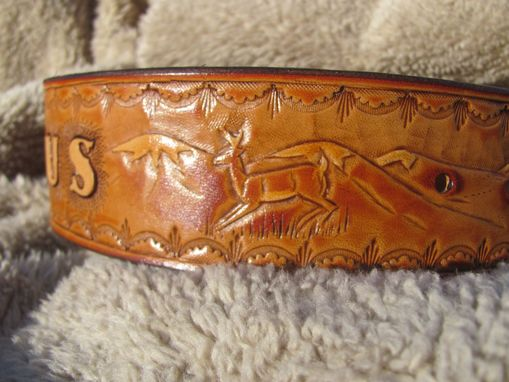 Custom Made Extra Large Dog Collar With Wilderness Scene, Personized