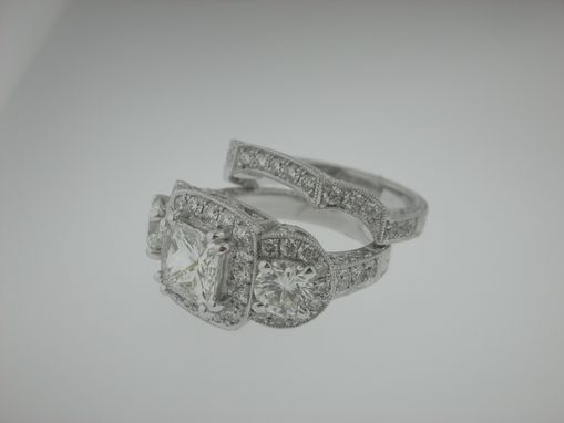 Custom Made Hand Engraved And Filigree' Engagement Ring