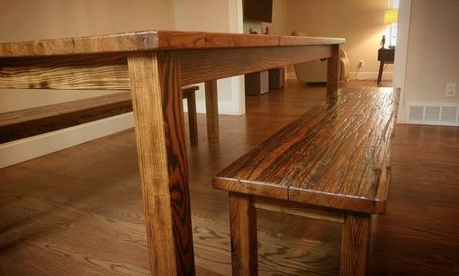 Custom Made The Ransom - Reclaimed Oak Butcher Block Dining Table & Bench