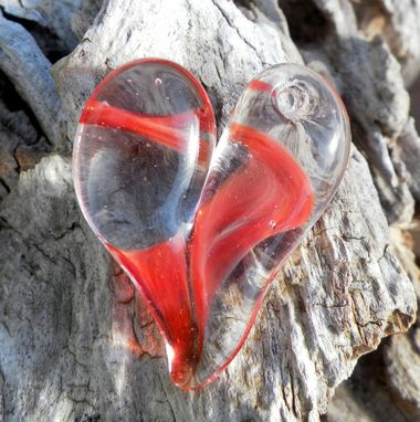 Custom Made Hand-Blown Clear Glass Heart Pendant With Red Swirl