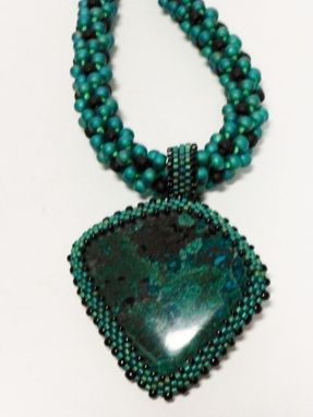 Custom Made Transparent Emerald Green Rainbow And Matte Black Kumihimo Necklace
