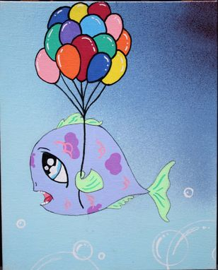 Custom Made Fish With Balloons - Painting