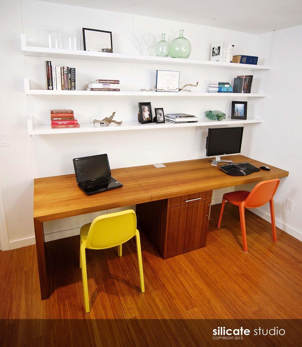 Custom Made Whoa Waterfall Desk And Floating Shelves