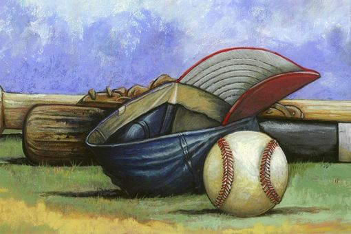 Custom Made Limited Edition Baseball Prints: Baseball Bat And Glove