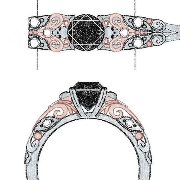 The scrollwork in this black diamond ring sketch bring to mind ram's horns as they swirl around the white gold skulls.