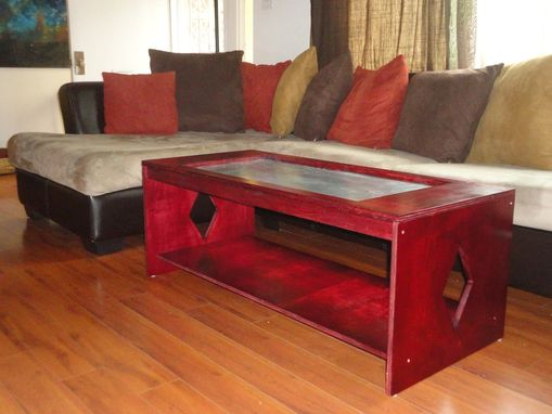 Custom Made Wood Table With Zinc Inlet