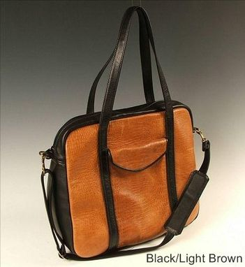 Custom Made Carry-On Bag Black And Light Brown Leather