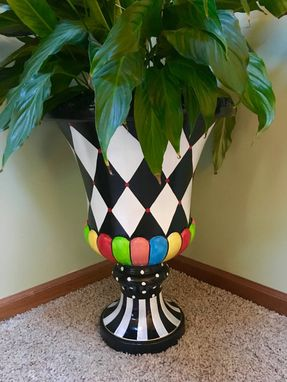 Hand Crafted Painted Urn Planter Urn Pot Planter