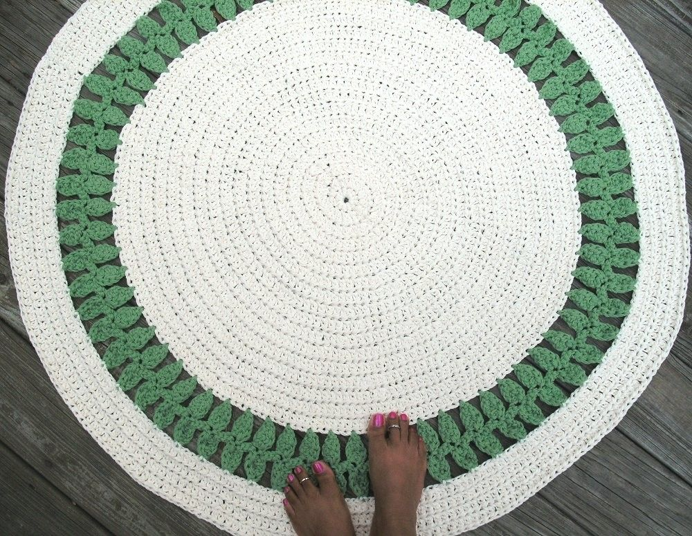 Custom Made Soft Ecru Off White And Green Cotton Crochet Rug In 41