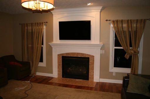 Custom Made Built In Custom Fireplace Mantle With Flatscreen Tv Display