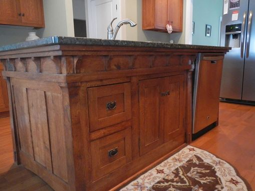 Custom Made Arts And Crafts Style Kitchen Island